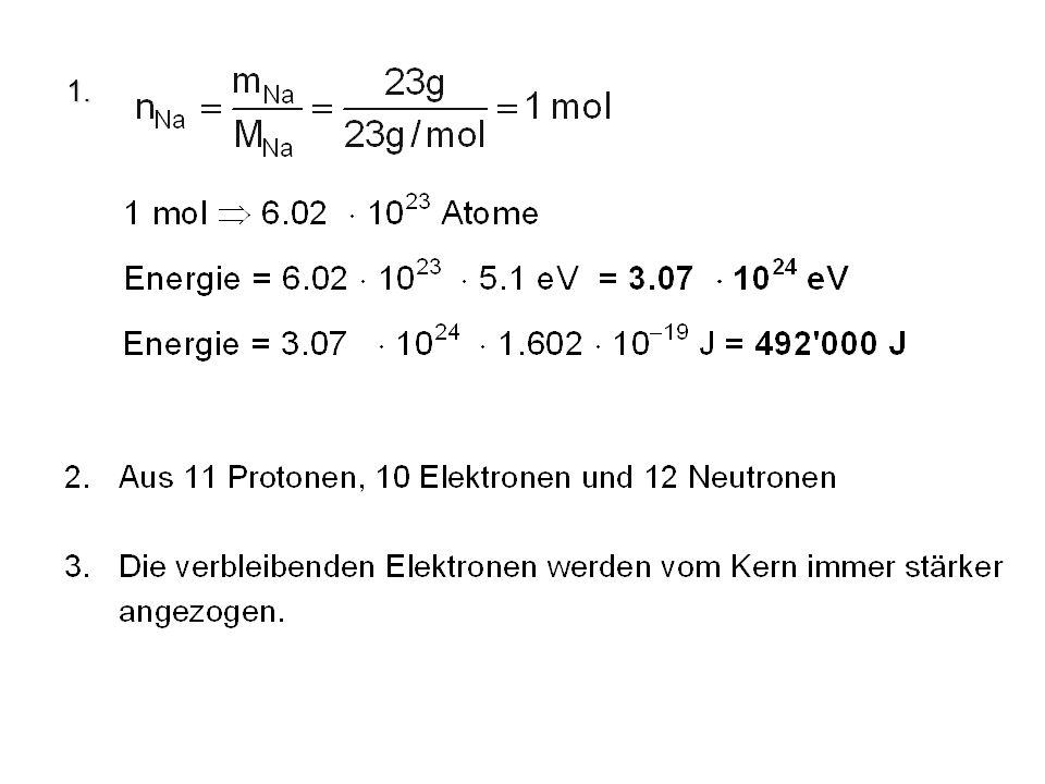 Sauerstoff 8 O: Energie n = 2 n = 1 Kugelwolkenmodell z y z y z y x