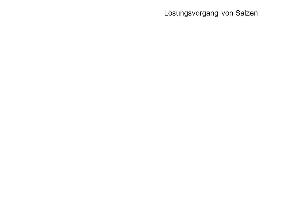 KCl NaCl AgF Gitter- enthalpie Hydrations- enthalpie Lösungs- enthalpie H (kJ/mol) Lösungsvorgang von Salzen