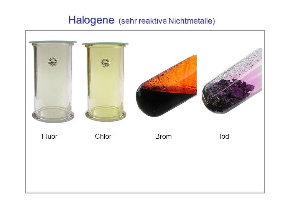Halogene (sehr reaktive Nichtmetalle) Fluor Chlor Brom Iod