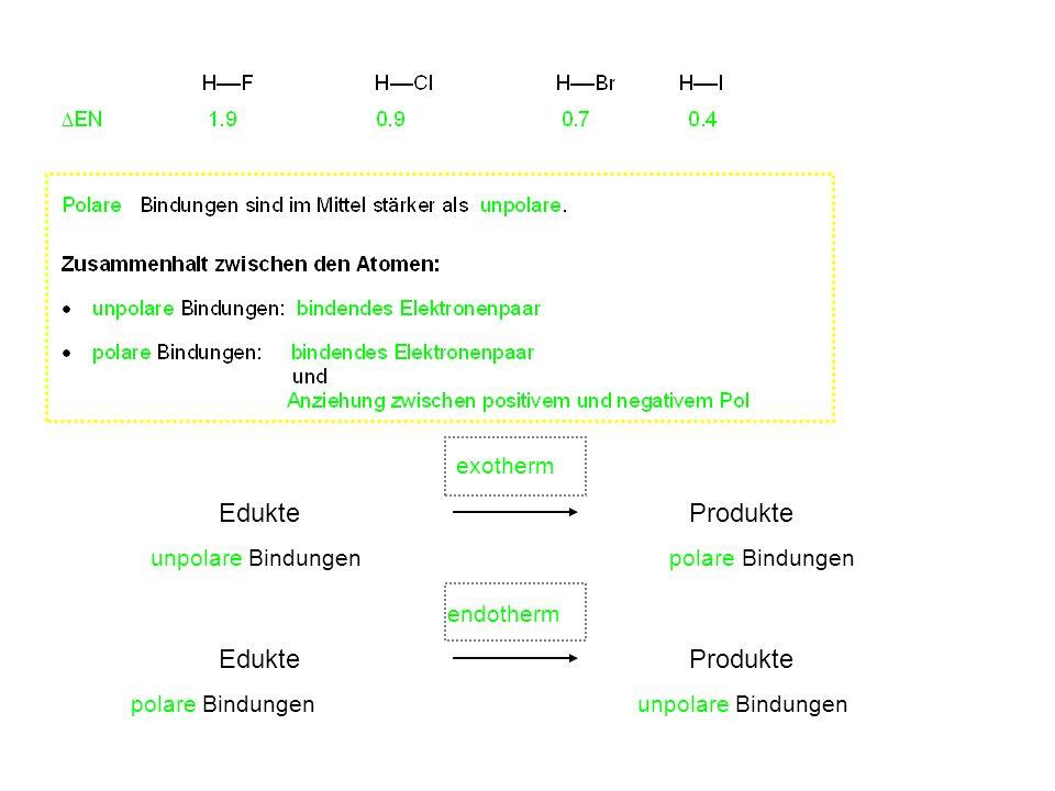 Edukte Produkte unpolare Bindungen polare Bindungen Edukte Produkte polare Bindungen unpolare Bindungen exotherm endotherm