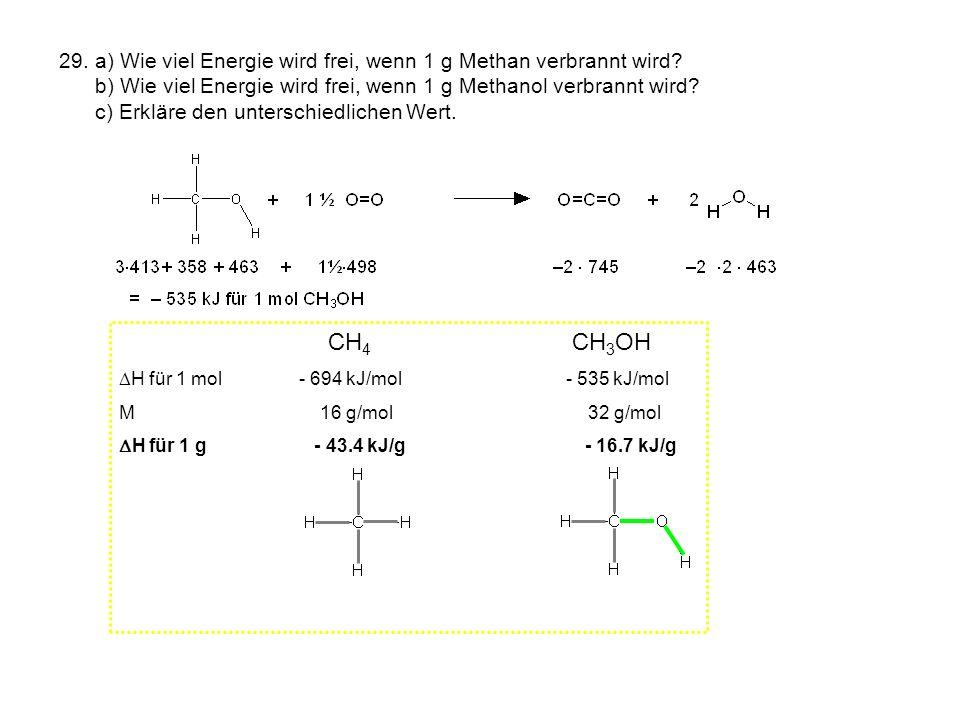 29. a) Wie viel Energie wird frei, wenn 1 g Methan verbrannt wird? b) Wie viel Energie wird frei, wenn 1 g Methanol verbrannt wird? c) Erkläre den unt