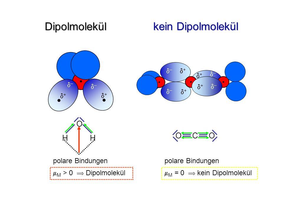 Dipolmolekül + – + – + – + – + – + – O H H O C O polare Bindungen M > 0 Dipolmolekül polare Bindungen M = 0 kein Dipolmolekül kein Dipolmolekül