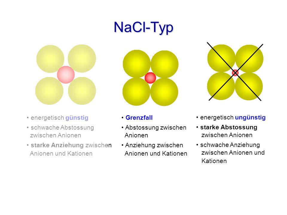 NaCl-Typ energetisch günstig schwache Abstossung zwischen Anionen starke Anziehung zwischen Anionen und Kationen Grenzfall Abstossung zwischen Anionen