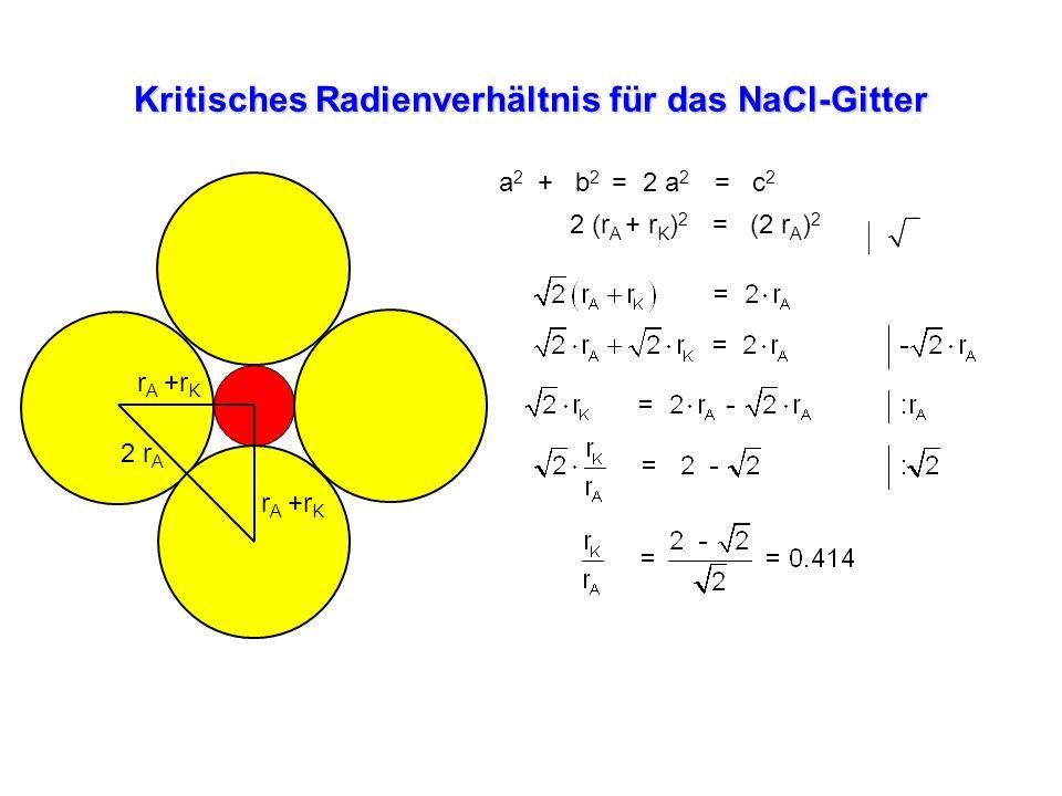 Kritisches Radienverhältnis für das NaCl-Gitter r A +r K 2 r A a 2 + b 2 = 2 a 2 = c 2 2 (r A + r K ) 2 = (2 r A ) 2