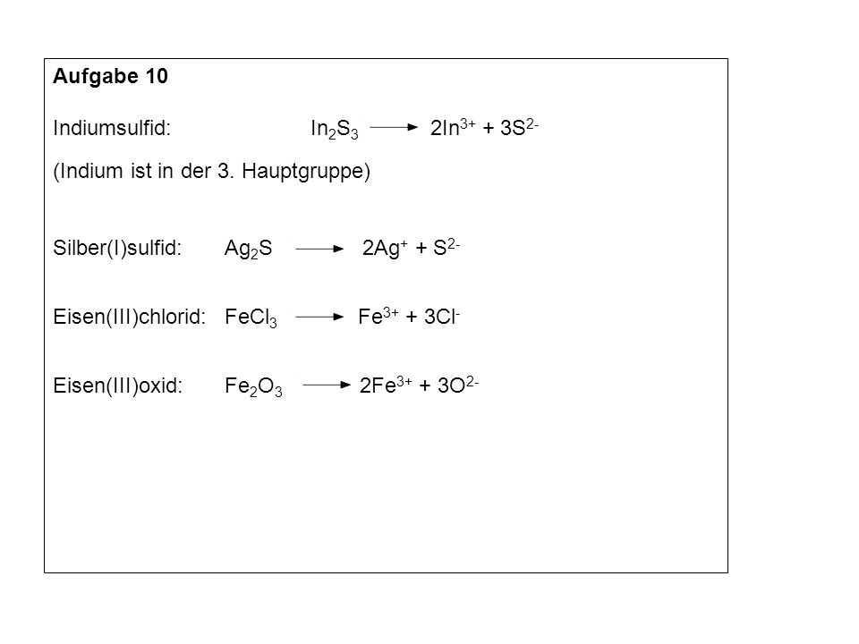 Aufgabe 10 Indiumsulfid: In 2 S 3 2In 3+ + 3S 2- (Indium ist in der 3. Hauptgruppe) Silber(I)sulfid:Ag 2 S 2Ag + + S 2- Eisen(III)chlorid:FeCl 3 Fe 3+
