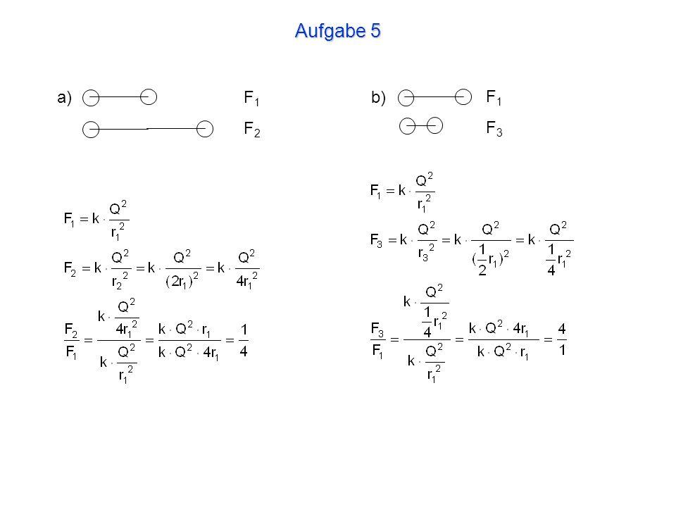 Aufgabe 6 F 2 ist 18-mal grösser als F 1. Beide Kräfte sind abstossend.