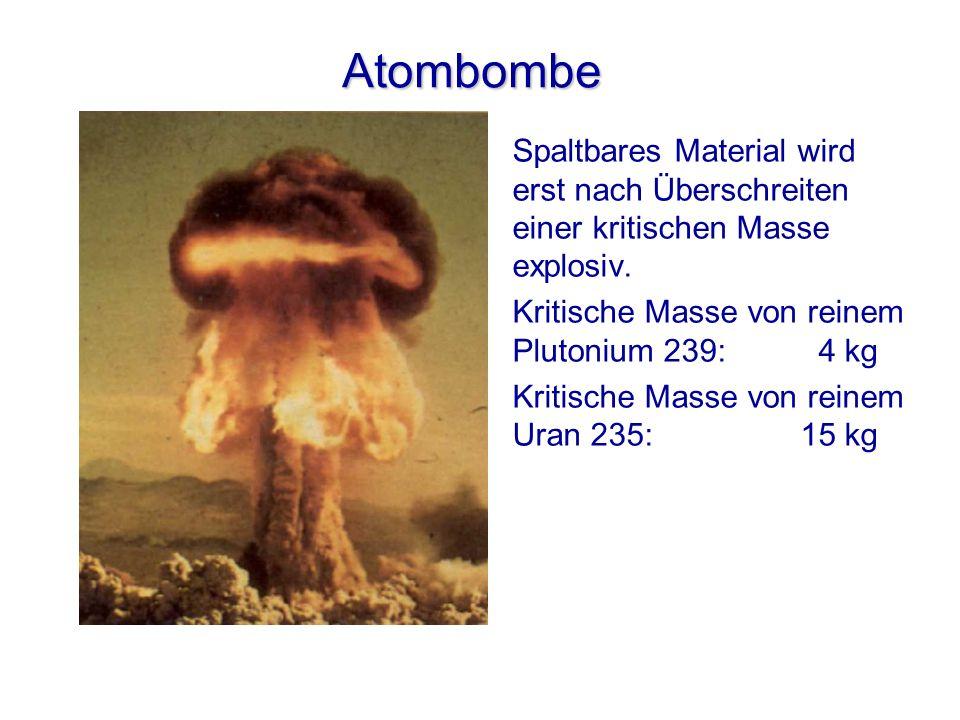 Atombombe Spaltbares Material wird erst nach Überschreiten einer kritischen Masse explosiv. Kritische Masse von reinem Plutonium 239: 4 kg Kritische M