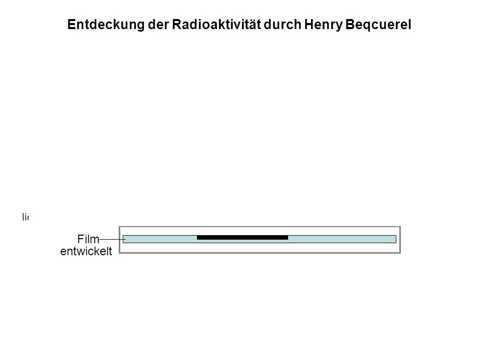 Film Metallkassette, lichtundurchlässig Uransalz entwickelt Entdeckung der Radioaktivität durch Henry Beqcuerel