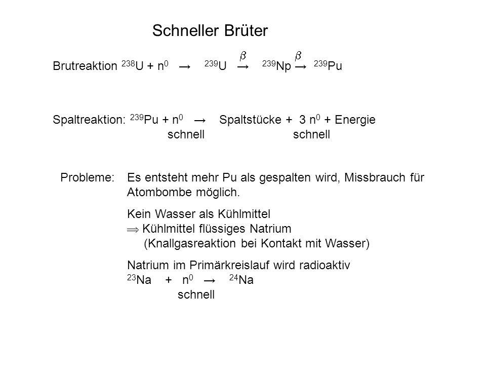 Schneller Brüter Brutreaktion 238 U + n 0 239 U 239 Np 239 Pu Spaltreaktion: 239 Pu + n 0 Spaltstücke + 3 n 0 + Energie schnell schnell Probleme:Es en