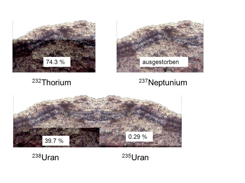 238 Uran 235 Uran 232 Thorium 237 Neptunium 0.29 % 74.3 % 39.7 % ausgestorben