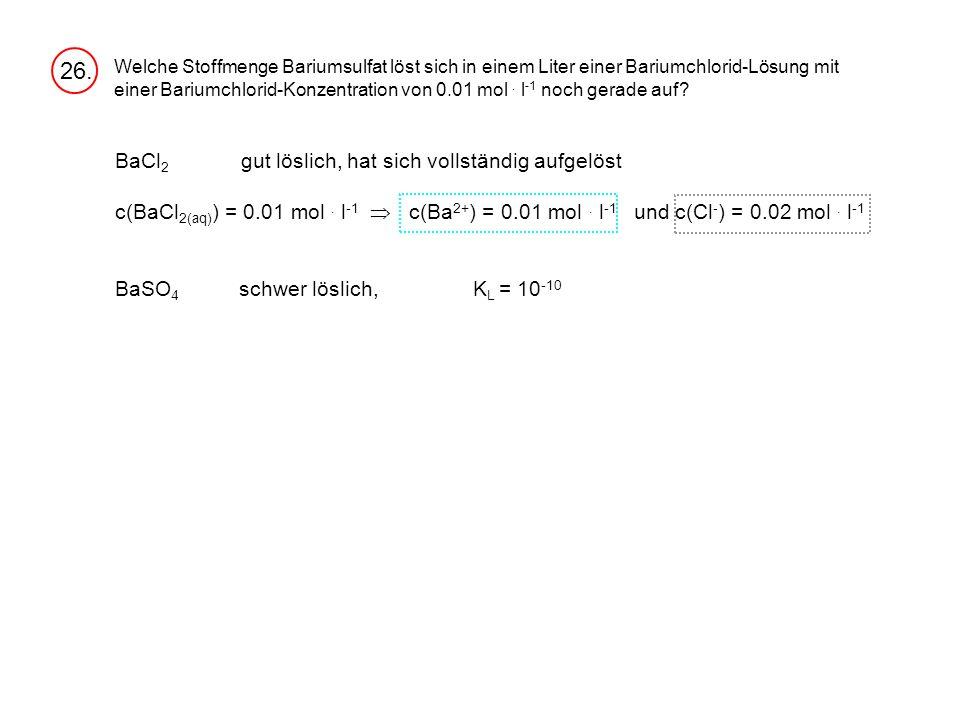 Welche Stoffmenge Bariumsulfat löst sich in einem Liter einer Bariumchlorid-Lösung mit einer Bariumchlorid-Konzentration von 0.01 mol.