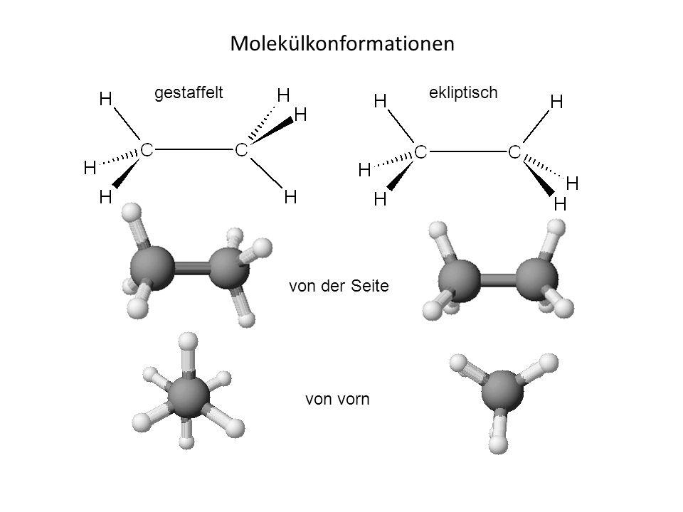 Molekülkonformationen von der Seite von vorn gestaffeltekliptisch