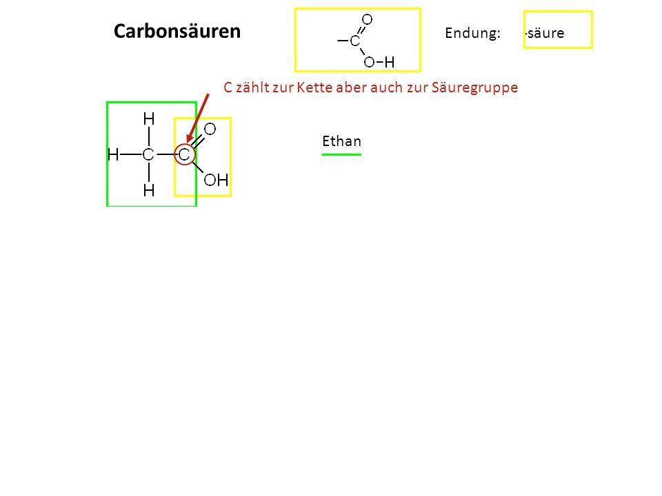................................................ Carbonsäuren Endung: -säure Ethansäure C zählt zur Kette aber auch zur Säuregruppe CC OH OO HO Ethand