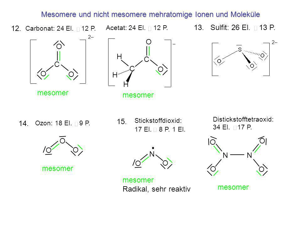 Mesomere und nicht mesomere mehratomige Ionen und Moleküle C O O O 2– O O O N O O O O N O O N Carbonat: 24 El. 12 P. Ozon: 18 El. 9 P. Stickstoffdioxi