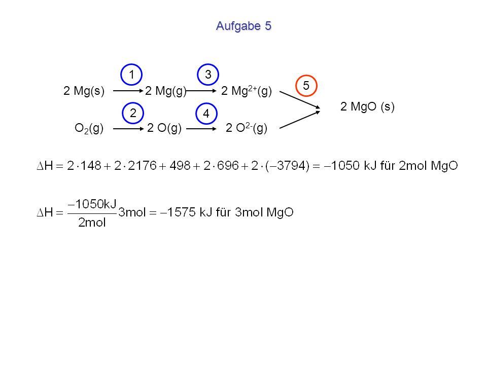 2 Mg(s) 2 Mg(g) 2 Mg 2+ (g) Aufgabe 5 O 2 (g) 2 O(g) 2 O 2- (g) 2 MgO (s) 1 2 3 4 5