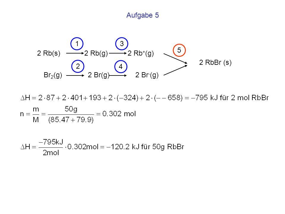 2 Rb(s) 2 Rb(g) 2 Rb + (g) Aufgabe 5 Br 2 (g) 2 Br(g) 2 Br - (g) 2 RbBr (s) 1 2 3 4 5