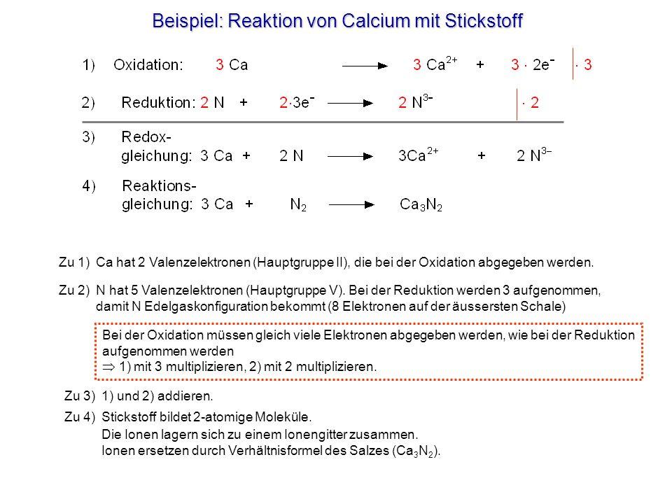 Beispiel: Reaktion von Calcium mit Stickstoff Zu 1) Ca hat 2 Valenzelektronen (Hauptgruppe II), die bei der Oxidation abgegeben werden. Zu 2) N hat 5