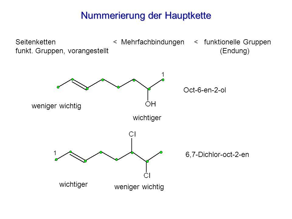 Nummerierung der Hauptkette wichtiger weniger wichtig wichtiger Oct-6-en-2-ol 6,7-Dichlor-oct-2-en 1 1 Seitenketten < Mehrfachbindungen < funktionelle Gruppen funkt.
