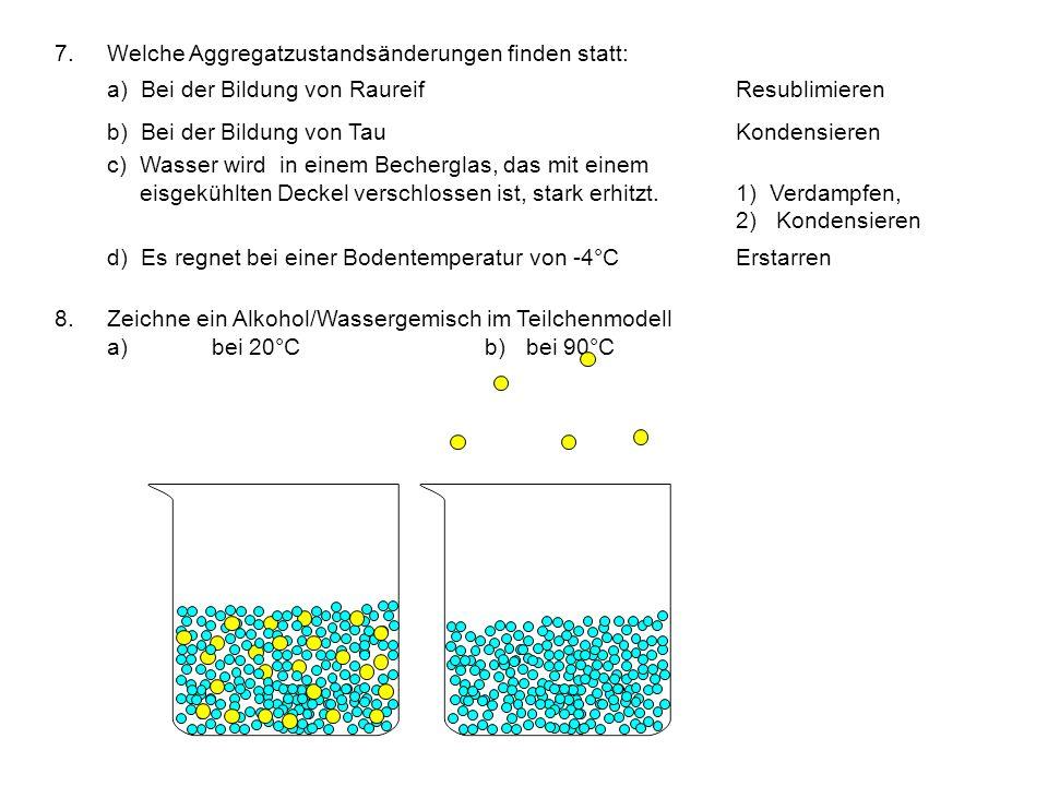 7.Welche Aggregatzustandsänderungen finden statt: a) Bei der Bildung von RaureifResublimieren b) Bei der Bildung von TauKondensieren c) Wasser wird in