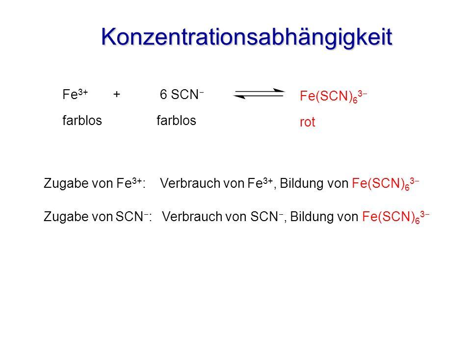 Konzentrationsabhängigkeit Zugabe von SCN : Verbrauch von SCN, Bildung von Fe(SCN) 6 3 Fe 3+ + 6 SCN farblos Zugabe von Fe 3+ : Verbrauch von Fe 3+, B