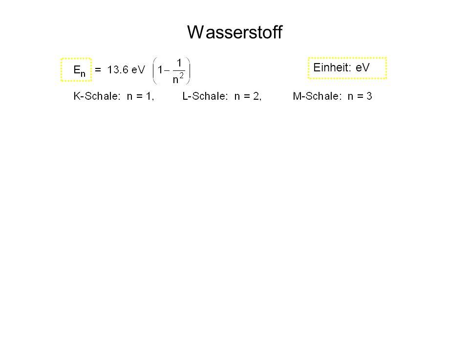 Wasserstoff n: tiefere Schale m: höhere Schale Einheit: eV Einheit: J 1 eV = 1.602. 10 -19 J