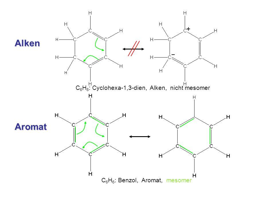 + C 6 H 8 : Cyclohexa-1,3-dien, Alken, nicht mesomer C 6 H 6 : Benzol, Aromat, mesomer Alken Aromat
