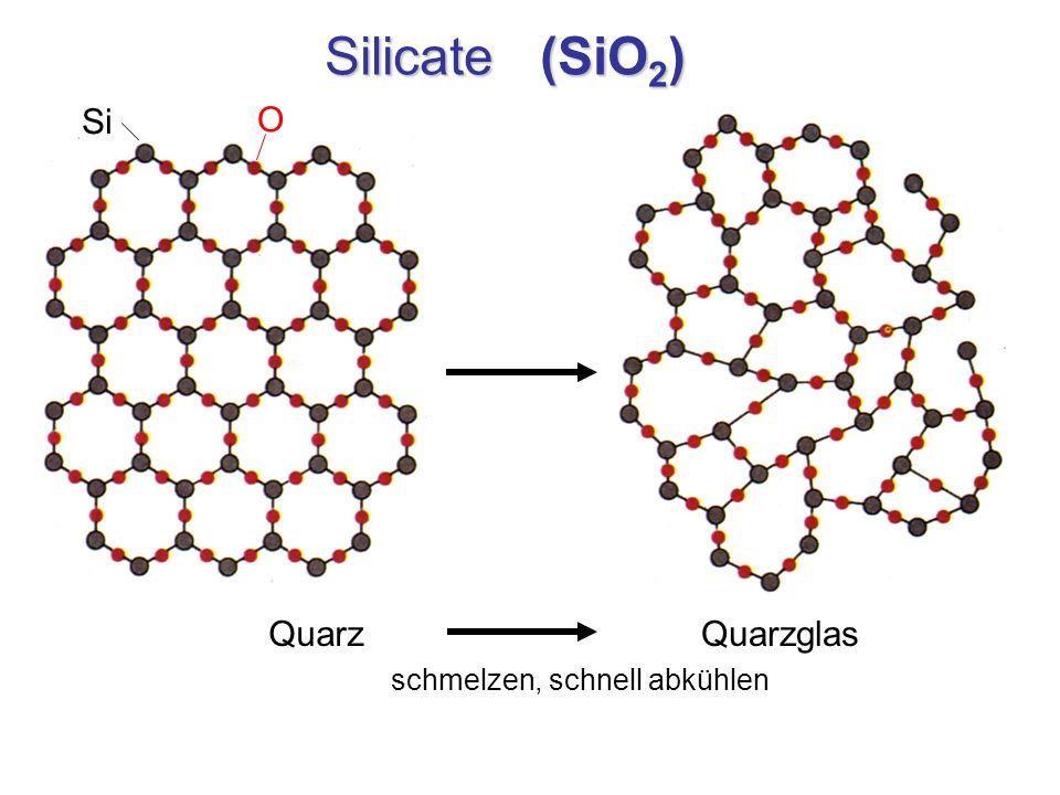 Silicate (SiO 2 ) Quarz schmelzen, schnell abkühlen Quarzglas Si O