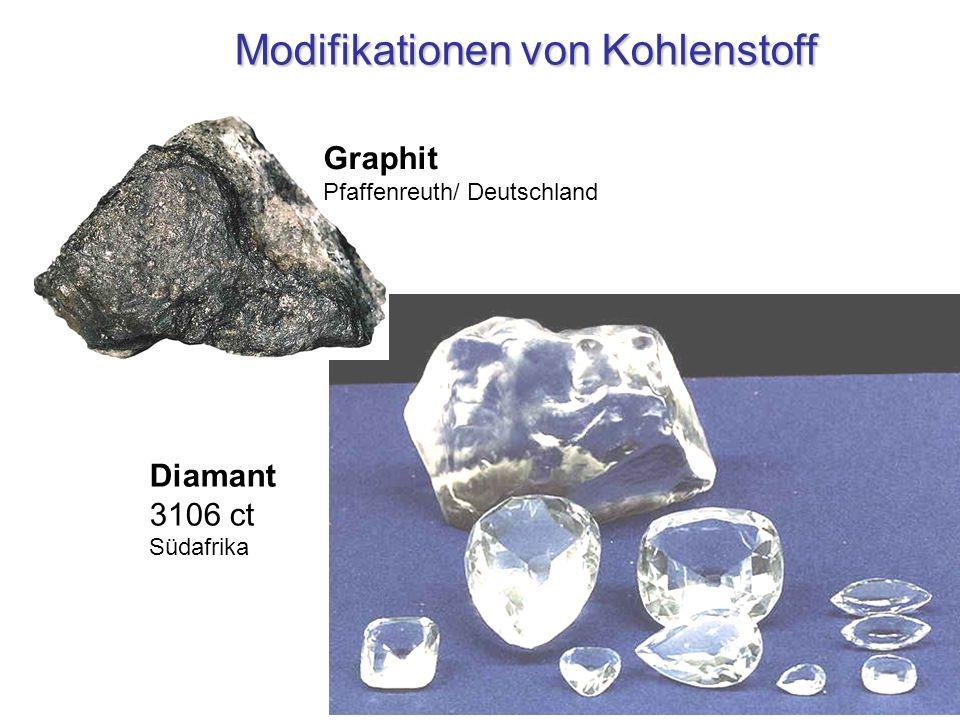 Modifikationen von Kohlenstoff Diamant 3106 ct Südafrika Graphit Pfaffenreuth/ Deutschland