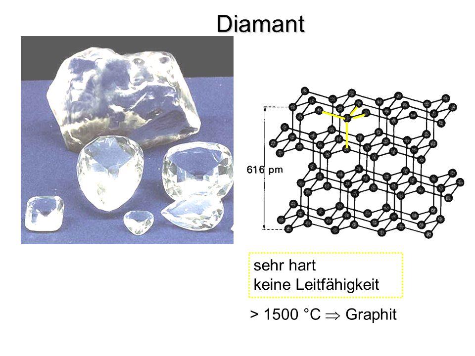 Diamant sehr hart keine Leitfähigkeit > 1500 °C Graphit