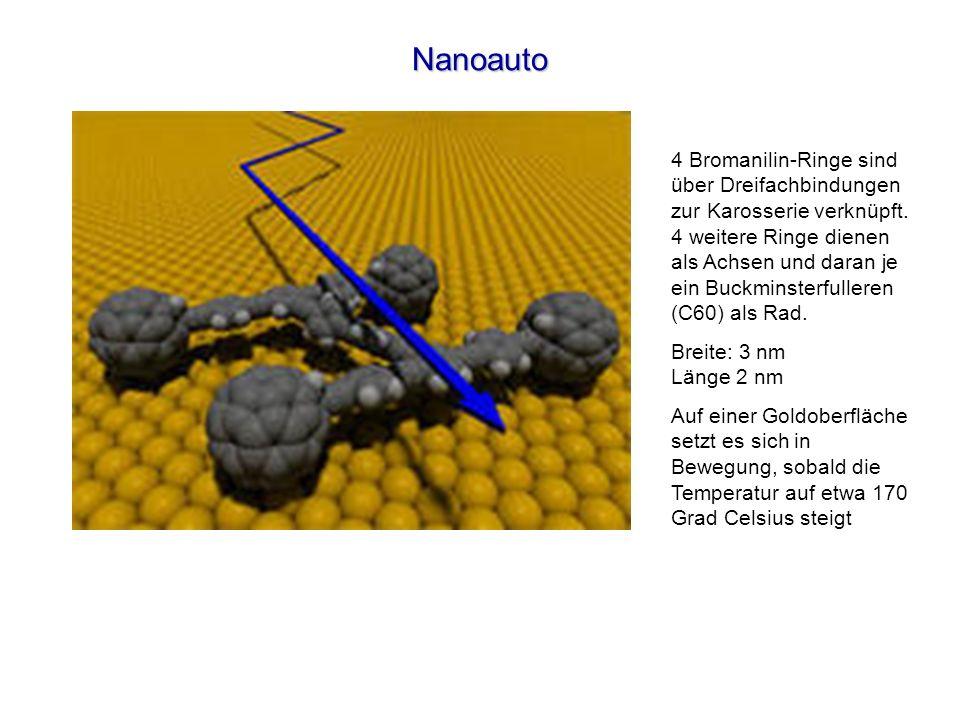 Nanoauto 4 Bromanilin-Ringe sind über Dreifachbindungen zur Karosserie verknüpft. 4 weitere Ringe dienen als Achsen und daran je ein Buckminsterfuller