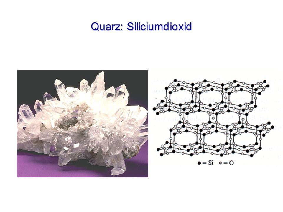 Silicate (SiO 2 ) Amethyst Siliciumdioxid (Spuren von Ti und Mn) Brasilien Rauchquarz Siliciumdioxid (Spuren von Ti) Montblanc Opal Siliciumdioxid SiO 2 + x H 2 O Australien