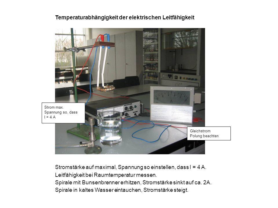 Temperaturabhängigkeit der elektrischen Leitfähigkeit Stromstärke auf maximal, Spannung so einstellen, dass I = 4 A. Leitfähigkeit bei Raumtemperatur