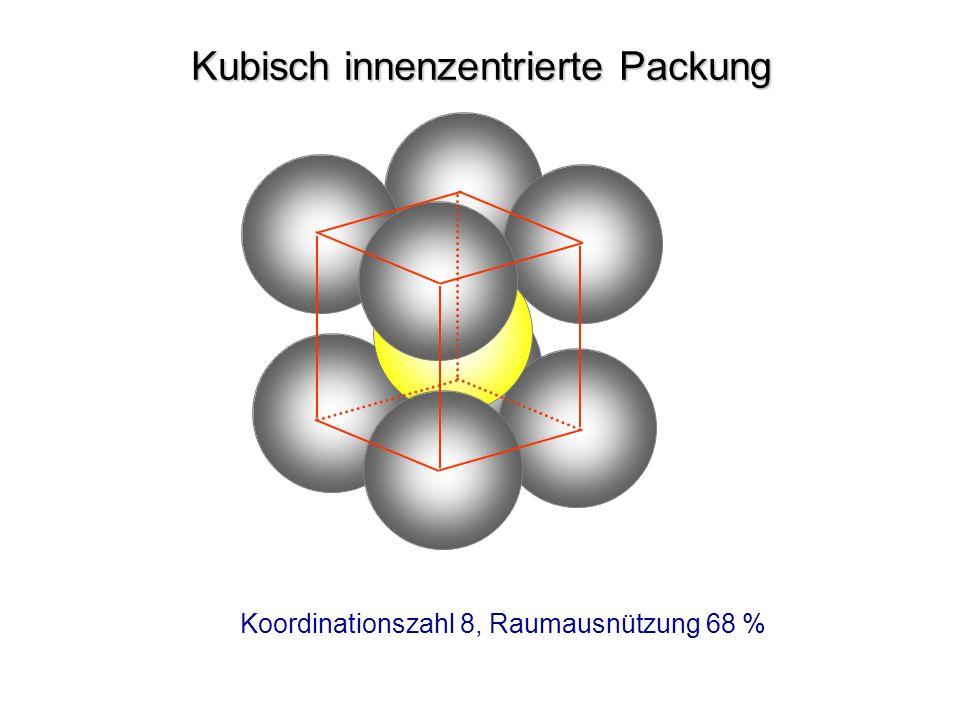 Kubisch innenzentrierte Packung Koordinationszahl 8, Raumausnützung 68 %