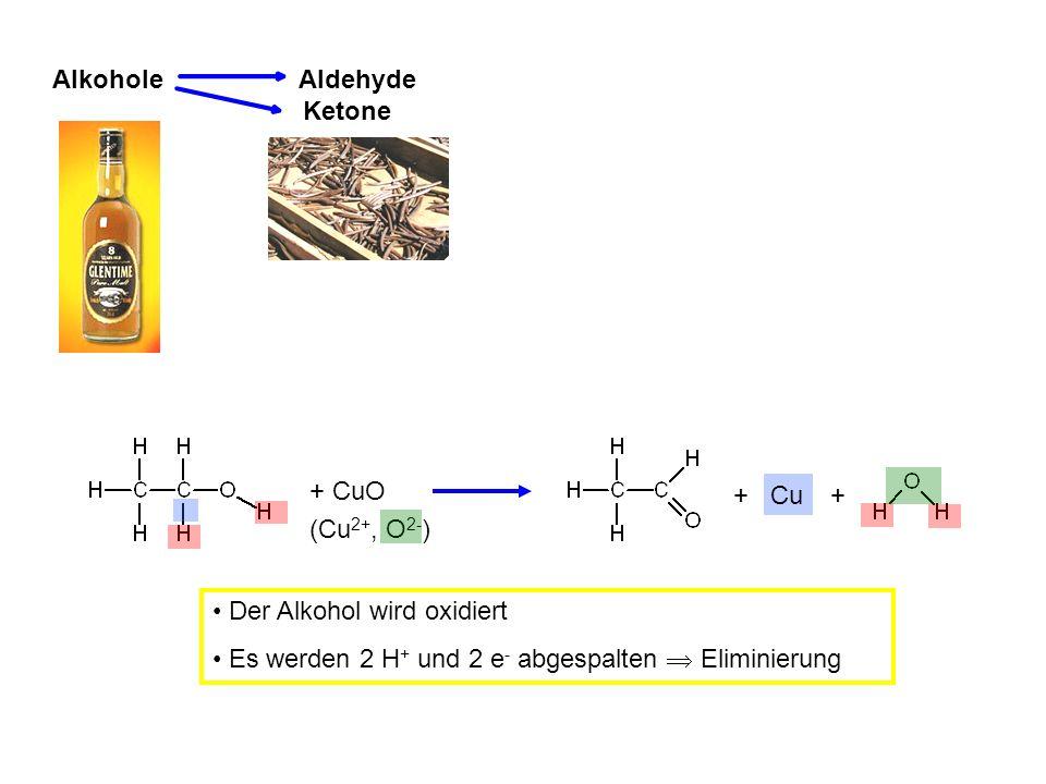 Alkohole Aldehyde Ketone + CuO (Cu 2+, O 2- ) + Cu + Der Alkohol wird oxidiert Es werden 2 H + und 2 e - abgespalten Eliminierung