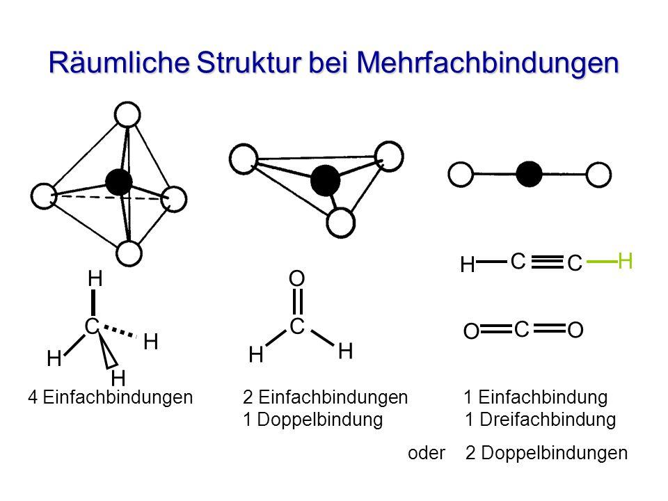 Räumliche Struktur bei Mehrfachbindungen C H H H H C O H H O O C H C C H 4 Einfachbindungen 2 Einfachbindungen 1 Einfachbindung 1 Doppelbindung 1 Drei