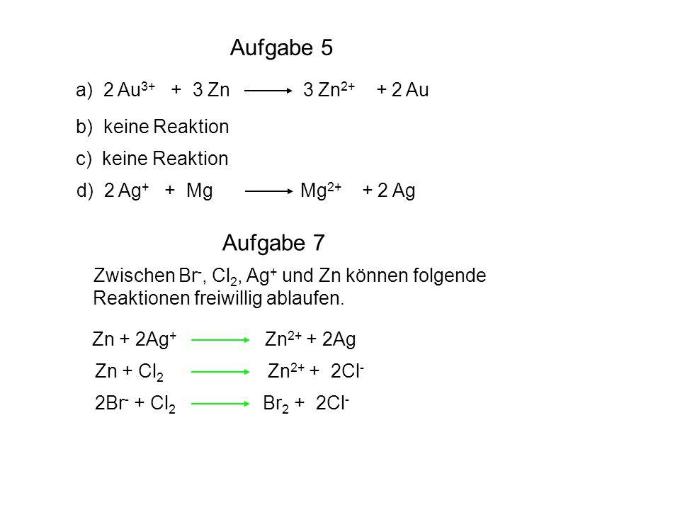 Aufgabe 5 a) 2 Au 3+ + 3 Zn 3 Zn 2+ + 2 Au b) keine Reaktion c) keine Reaktion d) 2 Ag + + Mg Mg 2+ + 2 Ag Zwischen Br -, Cl 2, Ag + und Zn können fol