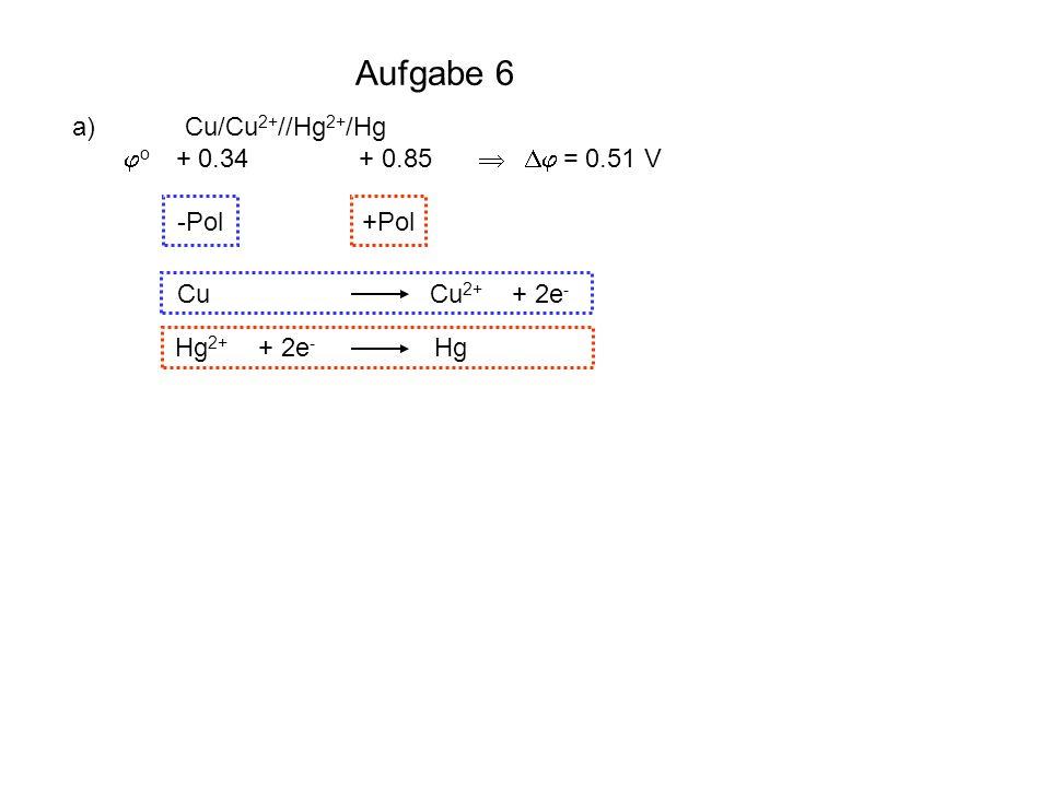 Aufgabe 6 a) Cu/Cu 2+ //Hg 2+ /Hg o + 0.34 + 0.85 = 0.51 V -Pol +Pol Cu Cu 2+ + 2e - Hg 2+ + 2e - Hg b) S / S 2- // I - / I 2 o - 0.51 + 0.54 = 1.05 V