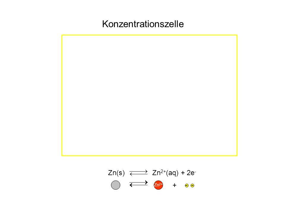 Zn(s) Zn 2+ (aq) + 2e - Zn 2+ -- + Konzentrationszelle
