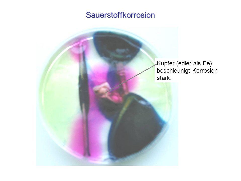Sauerstoffkorrosion Kupfer (edler als Fe) beschleunigt Korrosion stark.