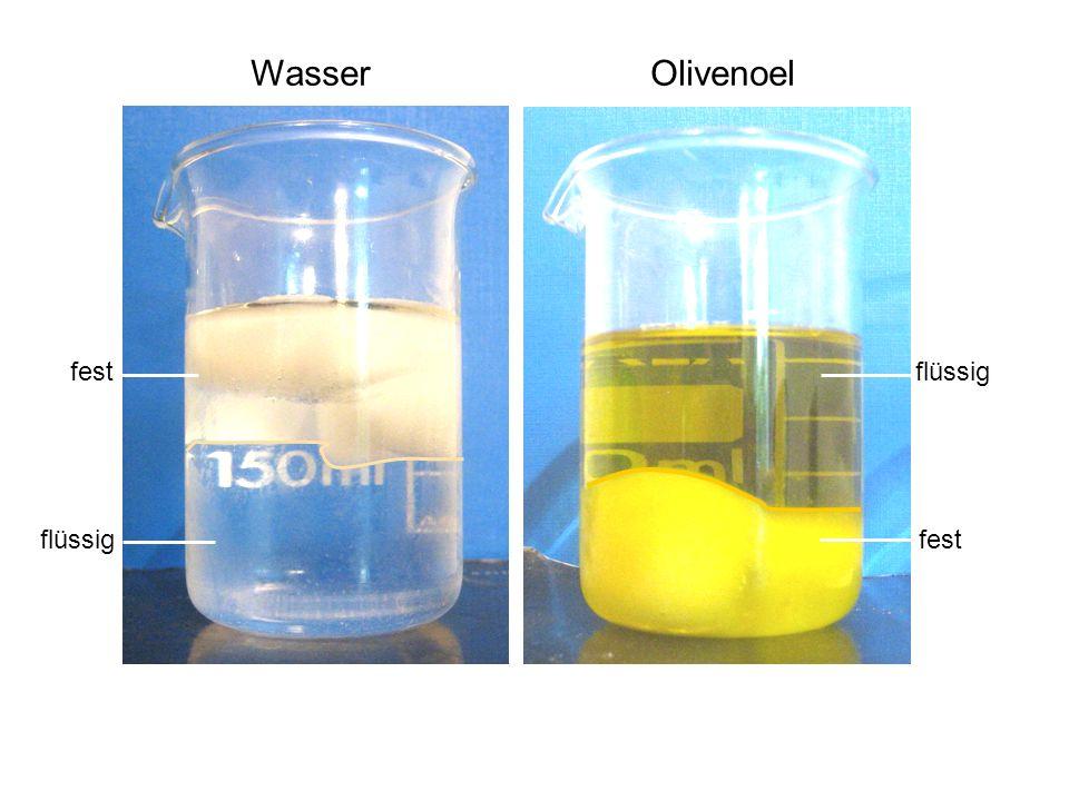 Wasser Olivenoel flüssig fest flüssig