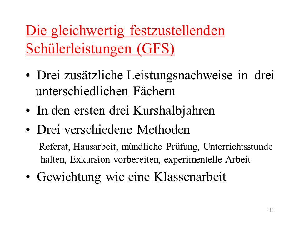 11 Die gleichwertig festzustellenden Schülerleistungen (GFS) Drei zusätzliche Leistungsnachweise in drei unterschiedlichen Fächern In den ersten drei