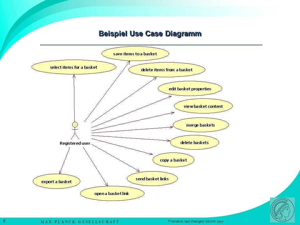 M A X - P L A N C K - G E S E L L S C H A F T 8 Filename, last changed: dd.mm.yyyy Beispiel Use Case Diagramm