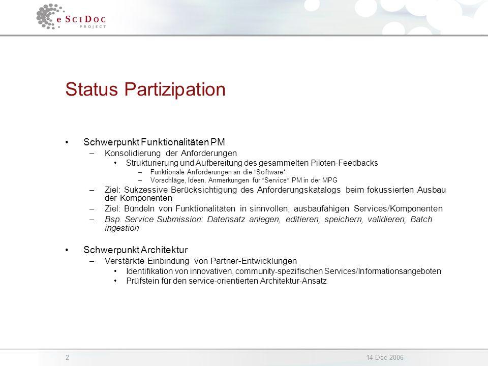 214 Dec 2006 Status Partizipation Schwerpunkt Funktionalitäten PM –Konsolidierung der Anforderungen Strukturierung und Aufbereitung des gesammelten Pi