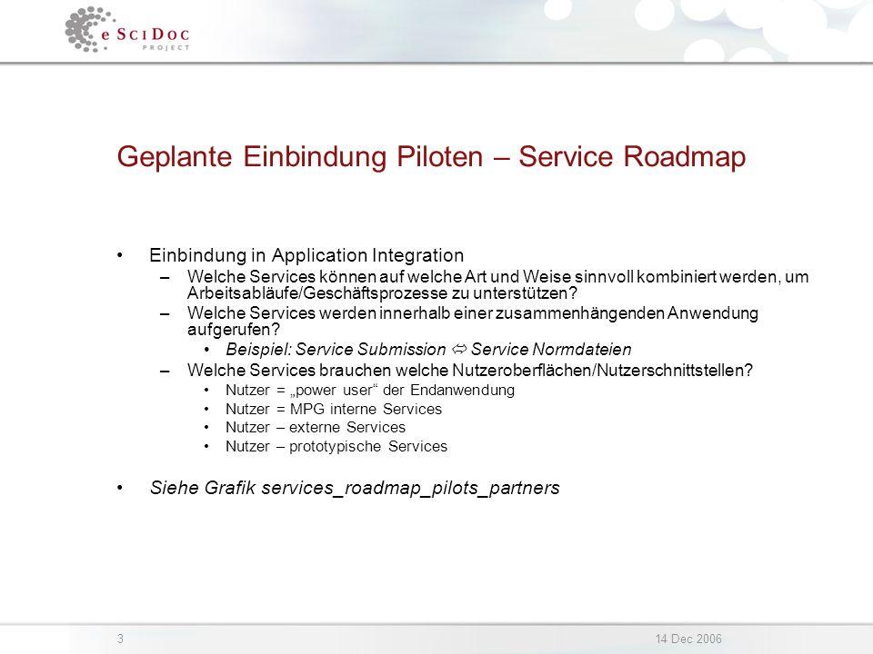 314 Dec 2006 Geplante Einbindung Piloten – Service Roadmap Einbindung in Application Integration –Welche Services können auf welche Art und Weise sinn