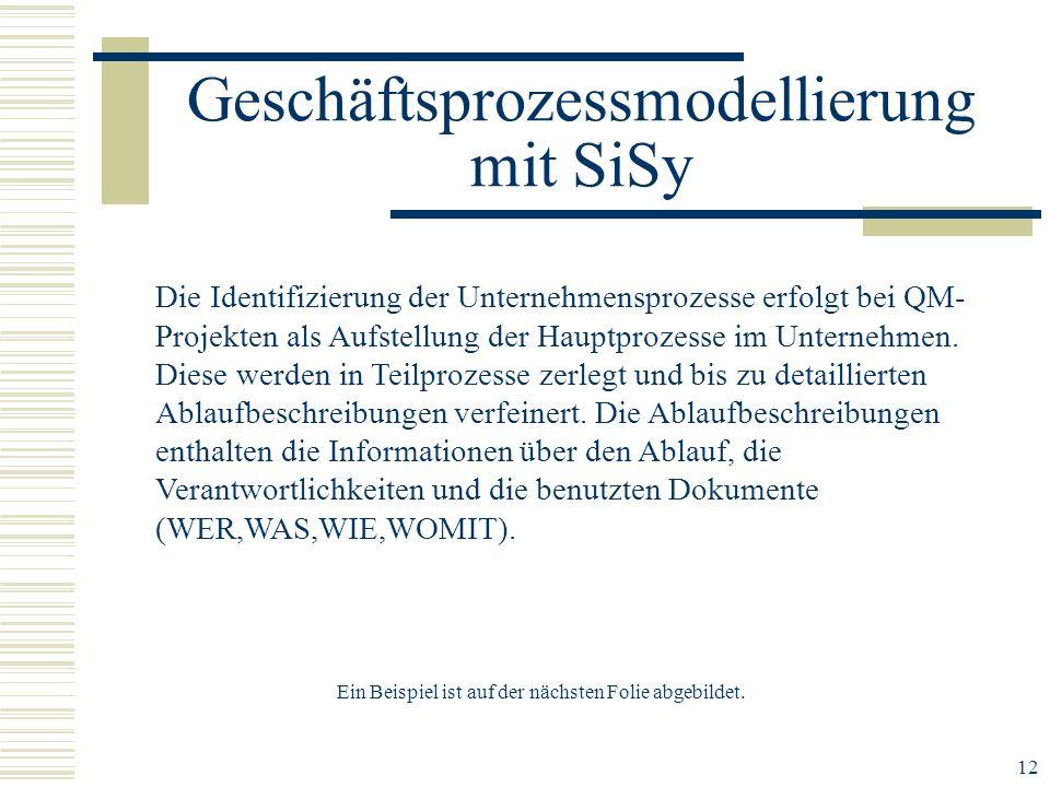 12 Geschäftsprozessmodellierung mit SiSy Die Identifizierung der Unternehmensprozesse erfolgt bei QM- Projekten als Aufstellung der Hauptprozesse im Unternehmen.