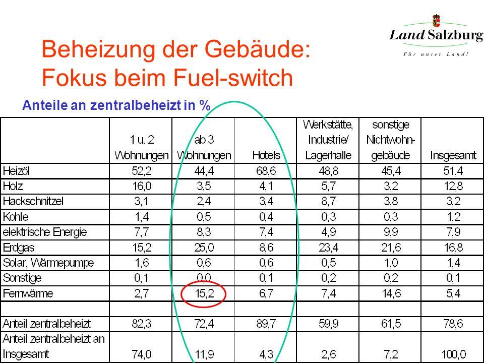 Beheizung der Gebäude: Fokus beim Fuel-switch Anteile an zentralbeheizt in %