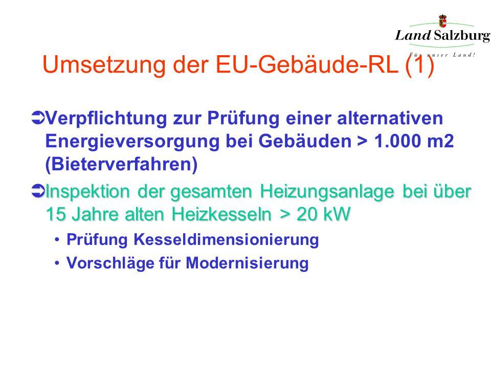Umsetzung der EU-Gebäude-RL (1) Verpflichtung zur Prüfung einer alternativen Energieversorgung bei Gebäuden > 1.000 m2 (Bieterverfahren) Inspektion de