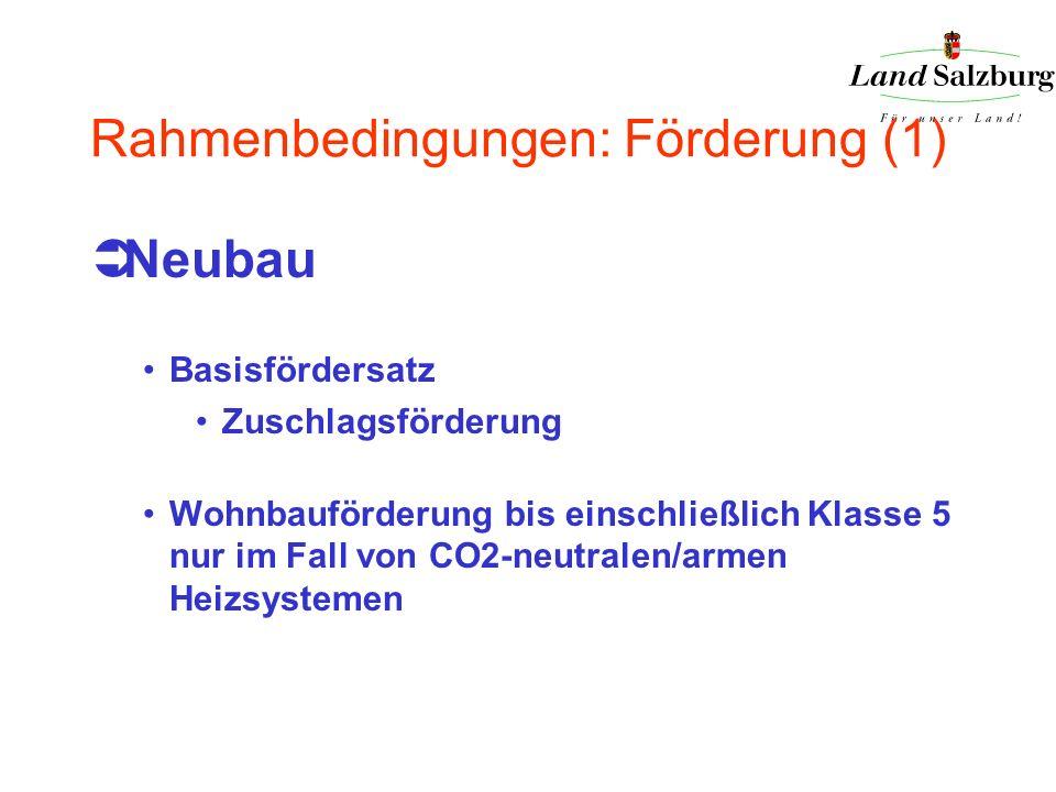 Rahmenbedingungen: Förderung (1) Neubau Basisfördersatz Zuschlagsförderung Wohnbauförderung bis einschließlich Klasse 5 nur im Fall von CO2-neutralen/