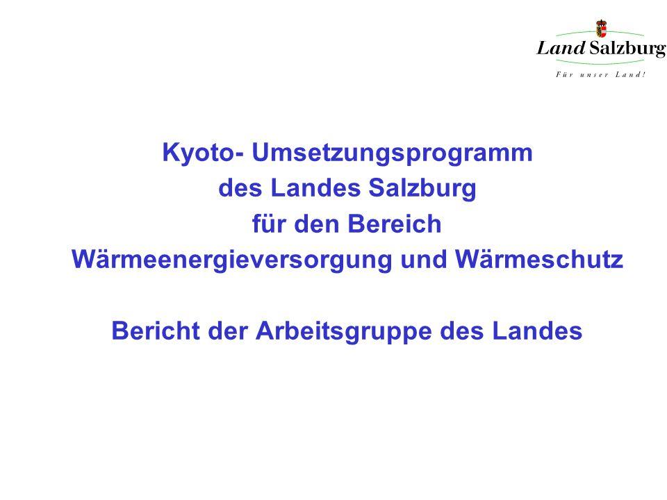 Kyoto- Umsetzungsprogramm des Landes Salzburg für den Bereich Wärmeenergieversorgung und Wärmeschutz Bericht der Arbeitsgruppe des Landes