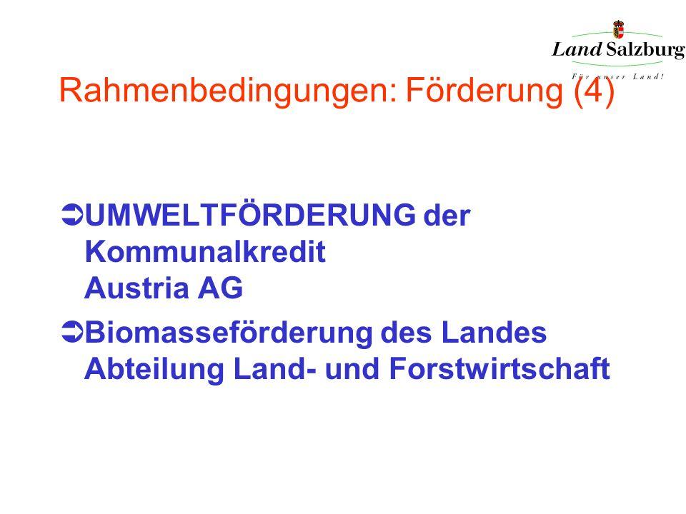 Rahmenbedingungen: Förderung (4) UMWELTFÖRDERUNG der Kommunalkredit Austria AG Biomasseförderung des Landes Abteilung Land- und Forstwirtschaft